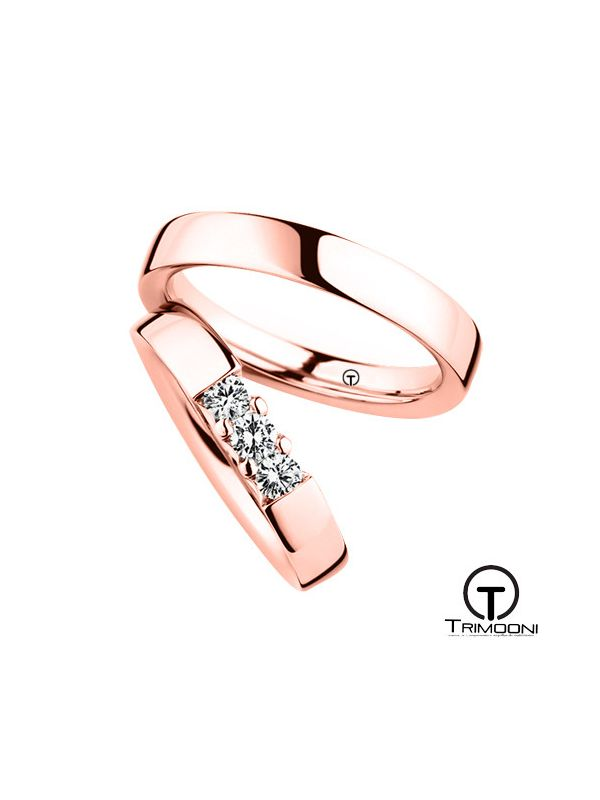 Tr3m_ORS-  Set (pareja) de Argollas Matrimonio Oro Rosado Trimooni