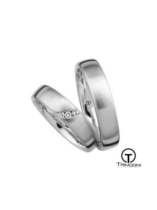 Tre_OBS-  Set (pareja) de Argollas Matrimonio Oro Blanco Trimooni