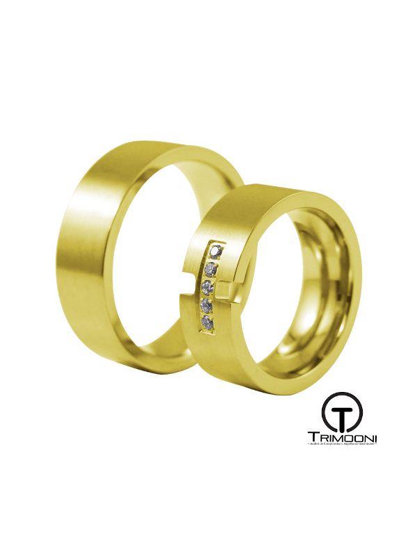 Venezi_OAS-  Set (pareja) de Argollas Matrimonio Oro Amarillo Trimooni