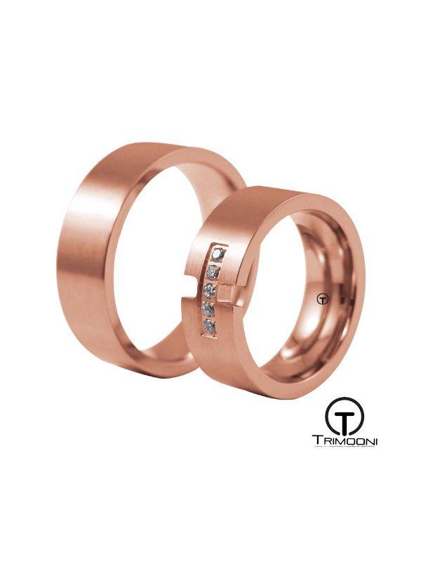Venezi_ORS-  Set (pareja) de Argollas Matrimonio Oro Rosado Trimooni