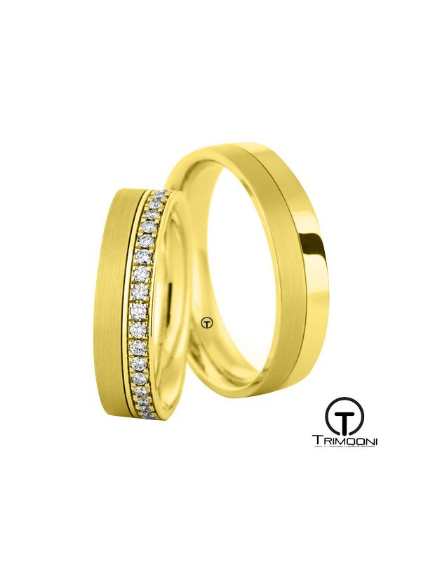 Zini_OAS-  Set (pareja) de Argollas Matrimonio Oro Amarillo Trimooni